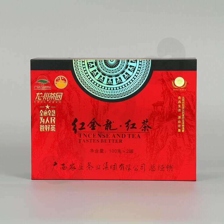 Custom Printing Cardboard Gift Box For Red Tea side view two