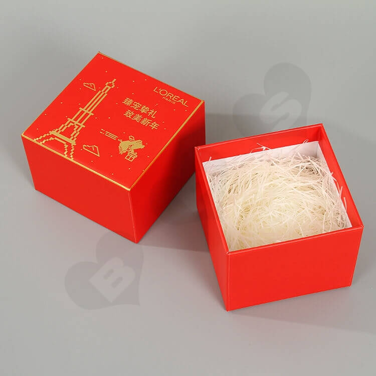 Custom Printing Cardboard New Year's Gift Box For Cosmetic side view five