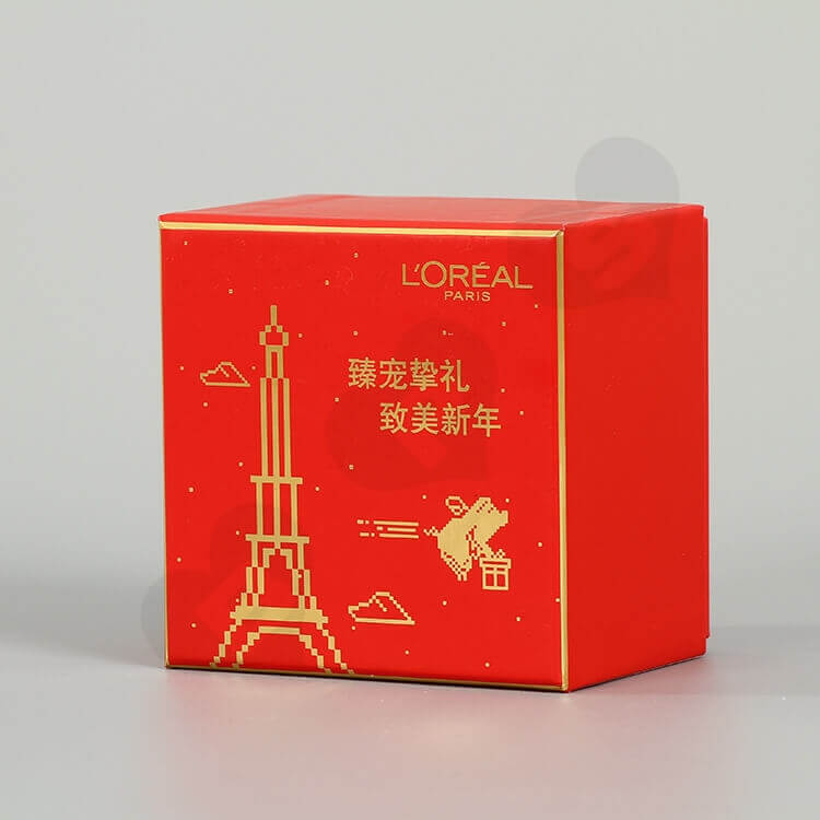 Custom Printing Cardboard New Year's Gift Box For Cosmetic side view one