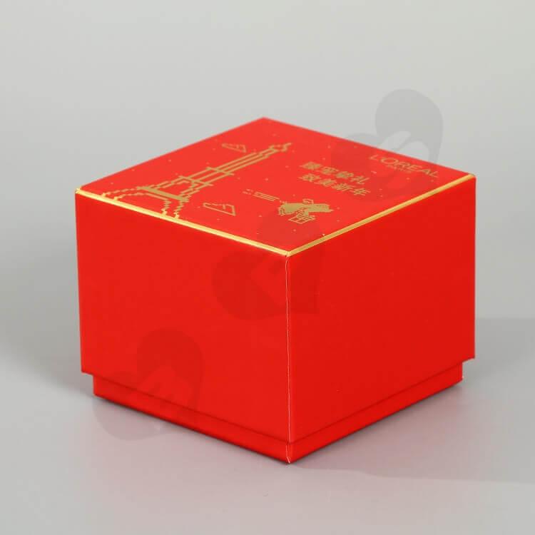 Custom Printing Cardboard New Year's Gift Box For Cosmetic side view three