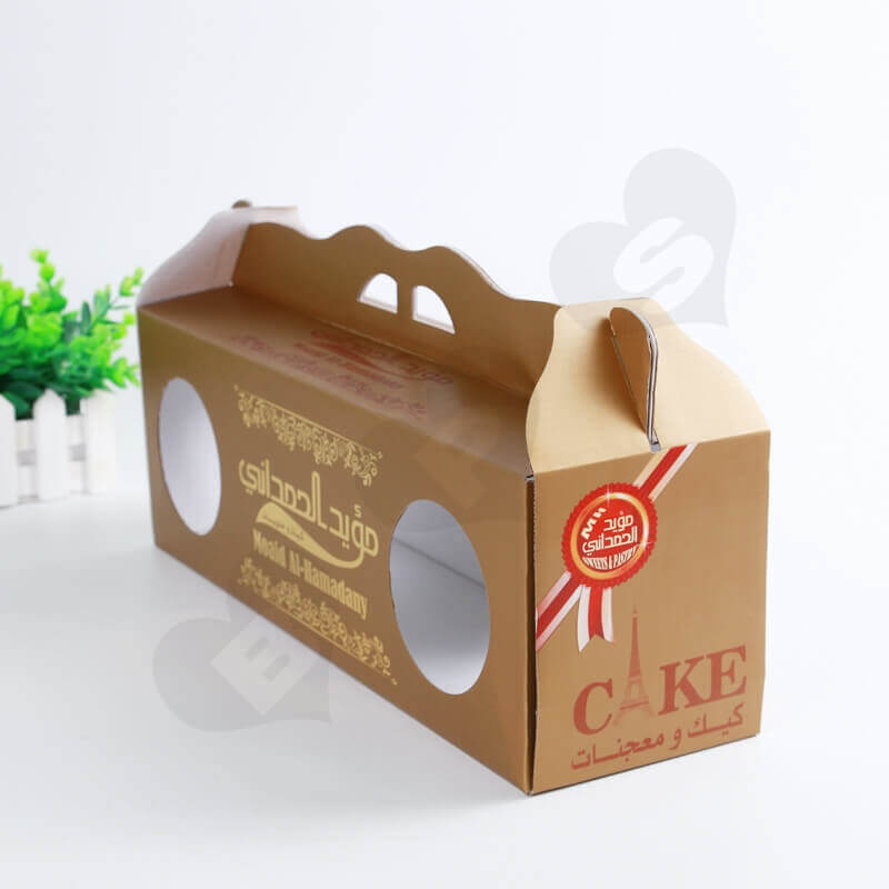 Custom Printing Corrugated Paper Box with Handle For Cake side view three