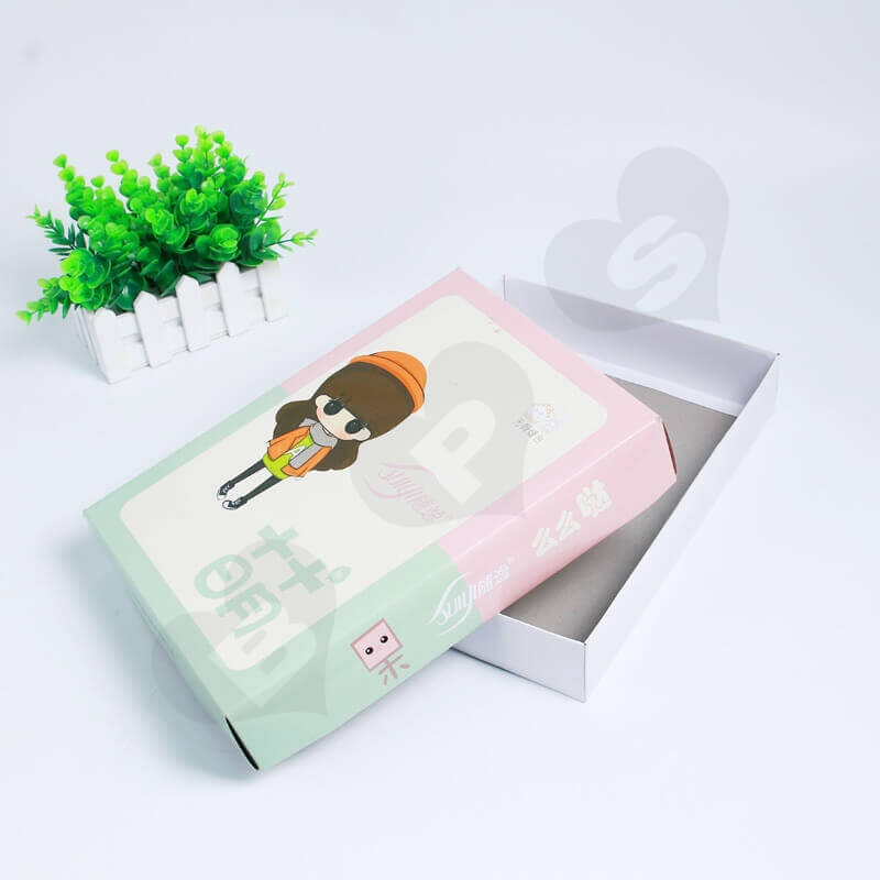 Custom Printing Duplex Paper Box For Socks side view two