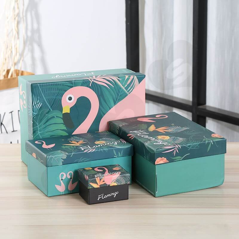 Custom Printing Gift Box with Paper Bag For Flamingo Toys side view one