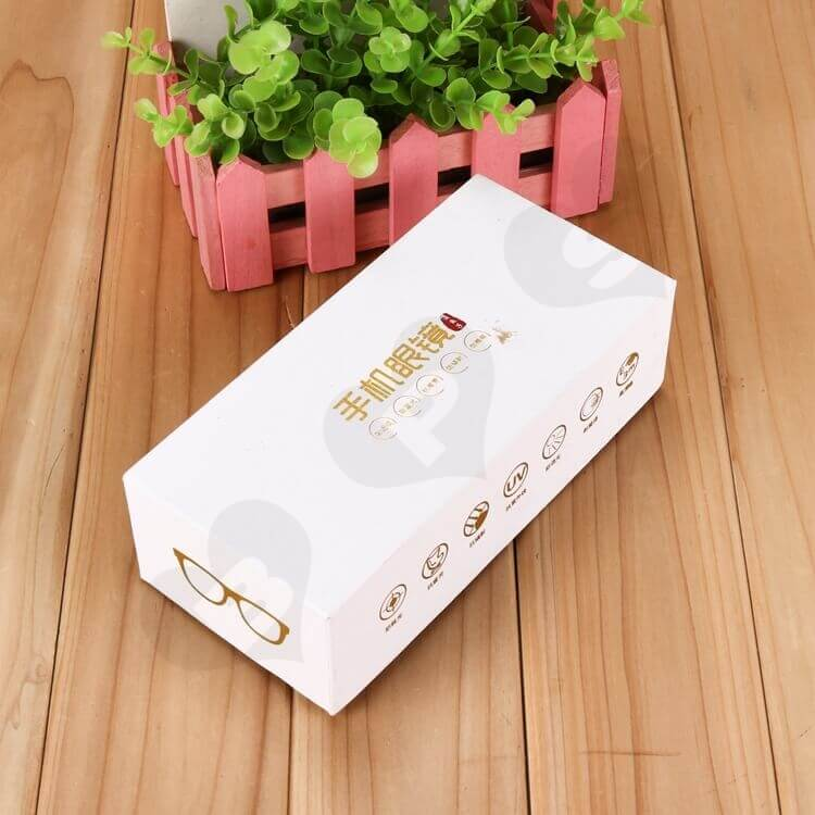 Custom Top and Bottom Rigid Gift Box For Cell Phone Glasses side view one
