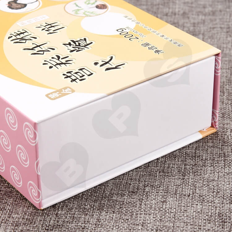 Customized Double Side Printing Magnetic Closure Box For Food side view two