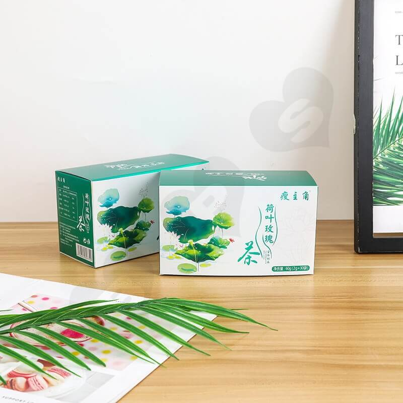 Customized Folding Carton Box For Lotus Leaf Rose Tea side view one