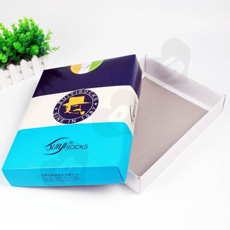 Customized Printing Sock Packaging Box side view one