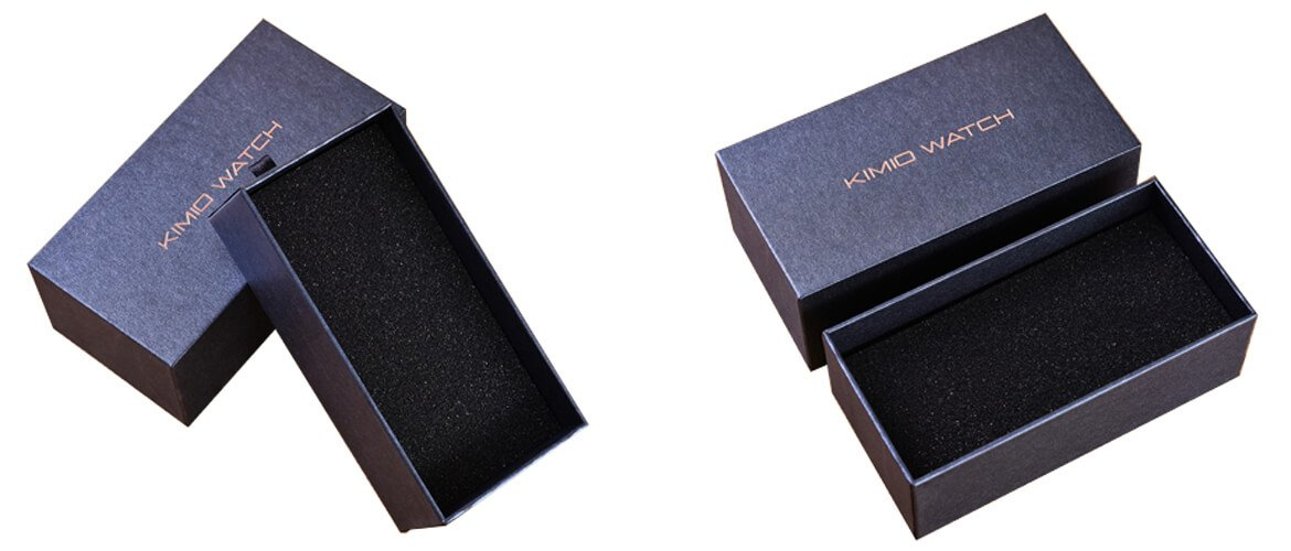 Deep Blue rigid top bottom style box with foam insert for packing watches