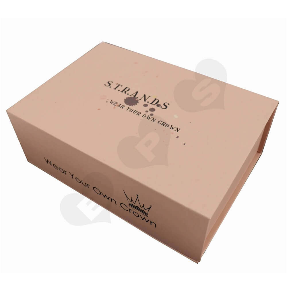 Double Side Printed Hair Extension Packaging Boxes side view three