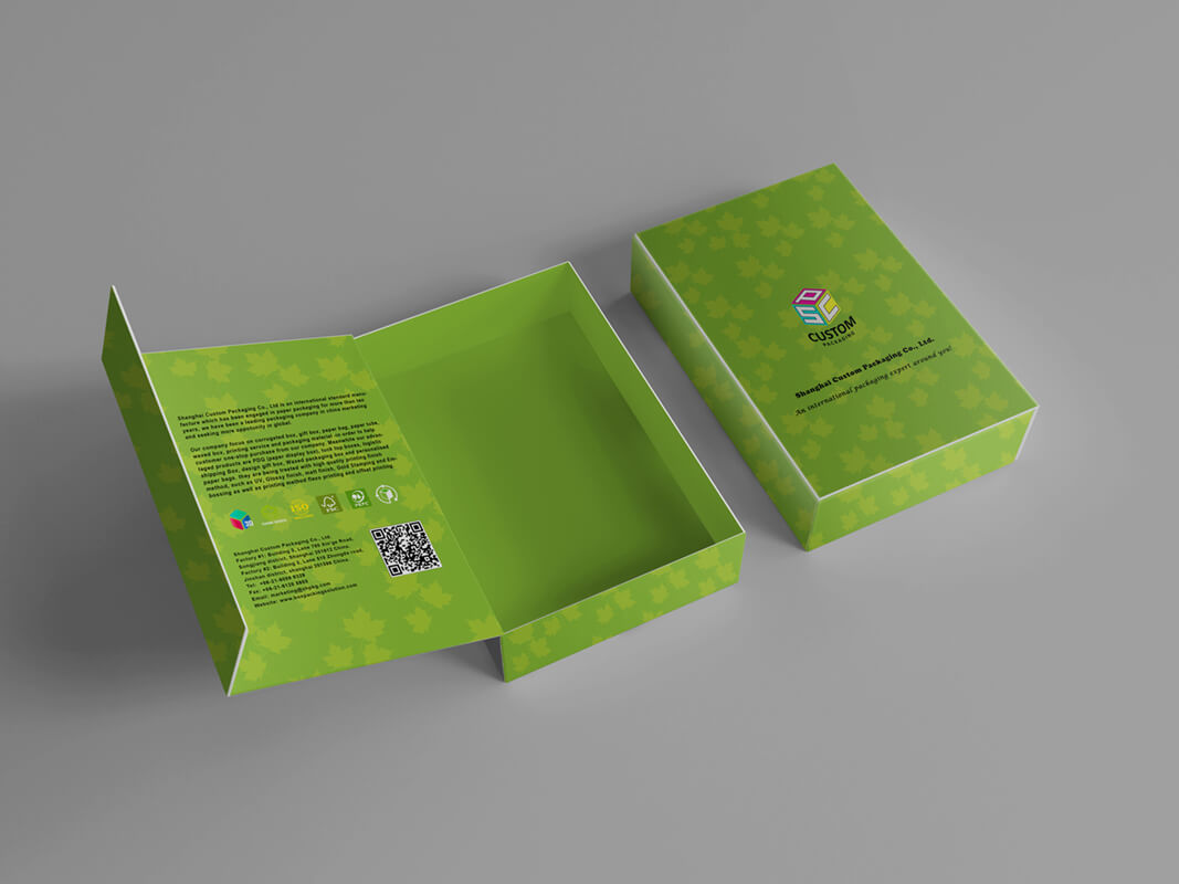Double Side Printed Rigid Hinged Lid Box Mock Up Design