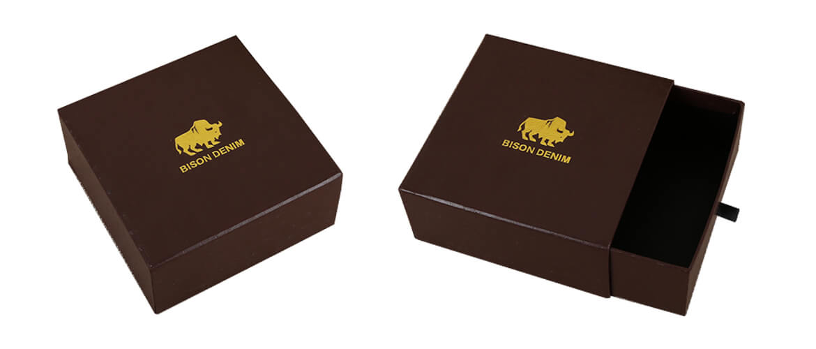 Drawer gift box with two sides specialty textured paper coated and gold foil logo