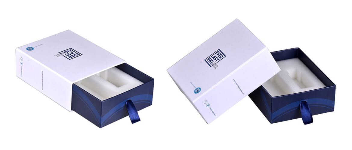 Drawer style box packaging with XPE foam insert