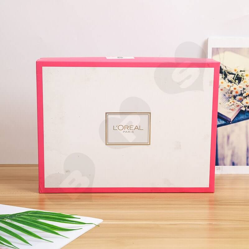 Fashion Pink Cardboard Box For Cosmetic Set side view four