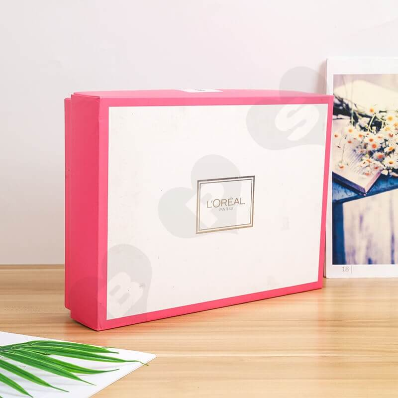 Fashion Pink Cardboard Box For Cosmetic Set side view two