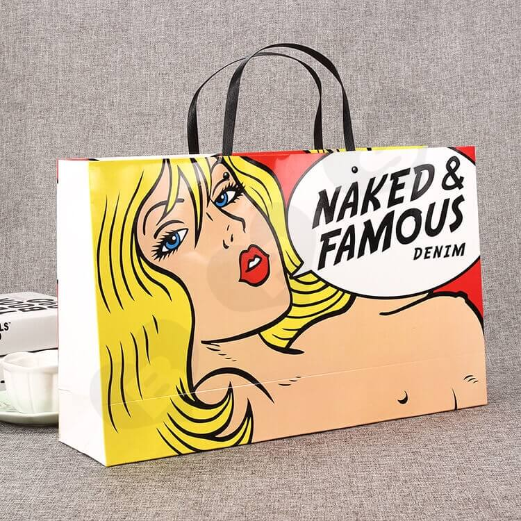 Fashion Style Shopping Bag Custom Printing side view three