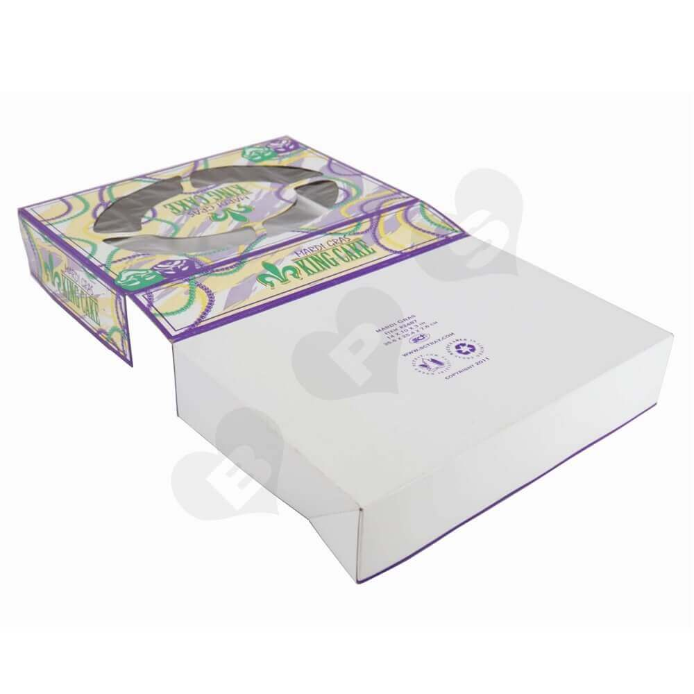 Foldable Paperboard Cake Box with Window side view four