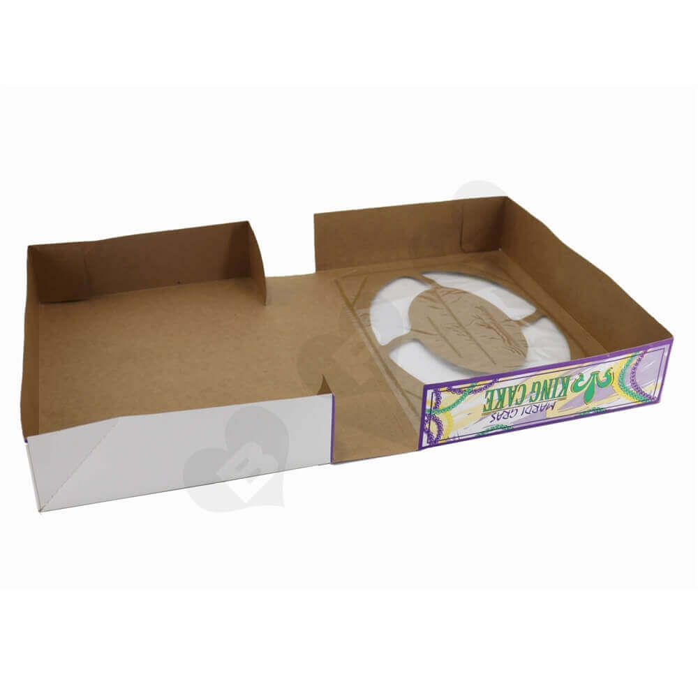 Foldable Paperboard Cake Box with Window side view three