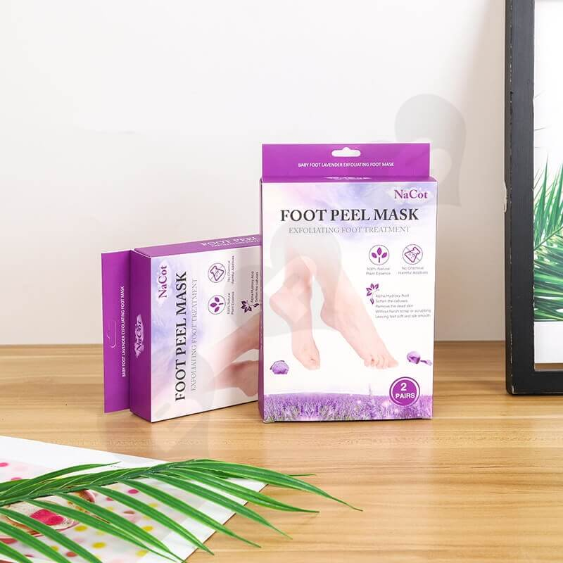 Foot Peel Mask Cardboard Box With Hanger side view one