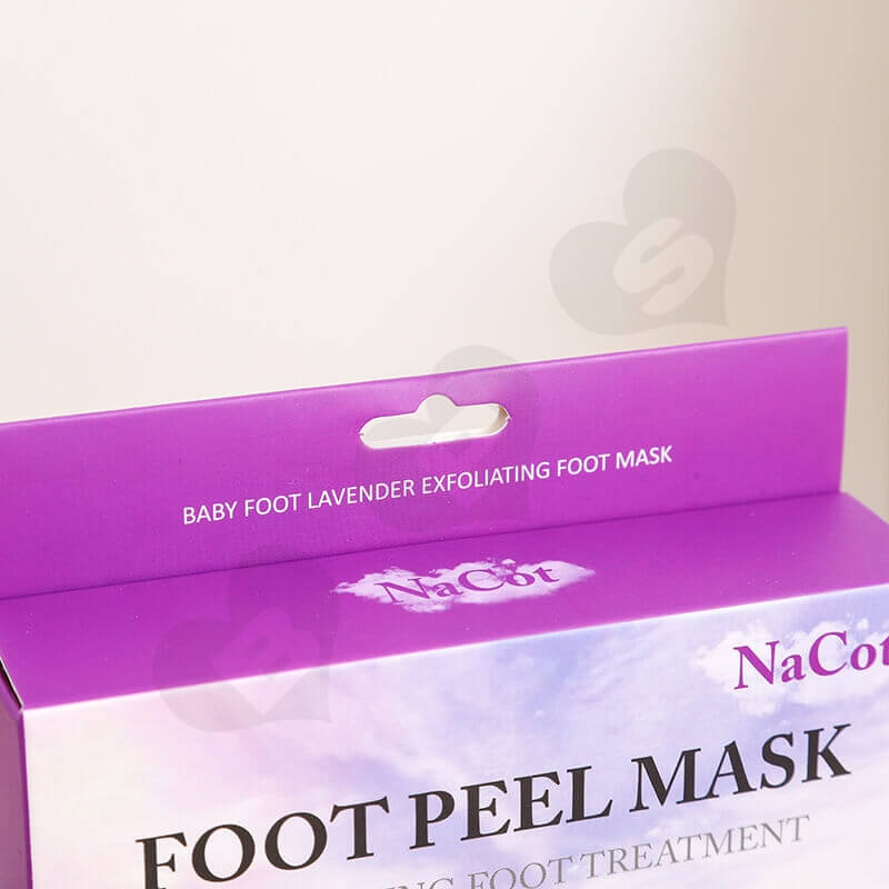Foot Peel Mask Cardboard Box With Hanger side view two