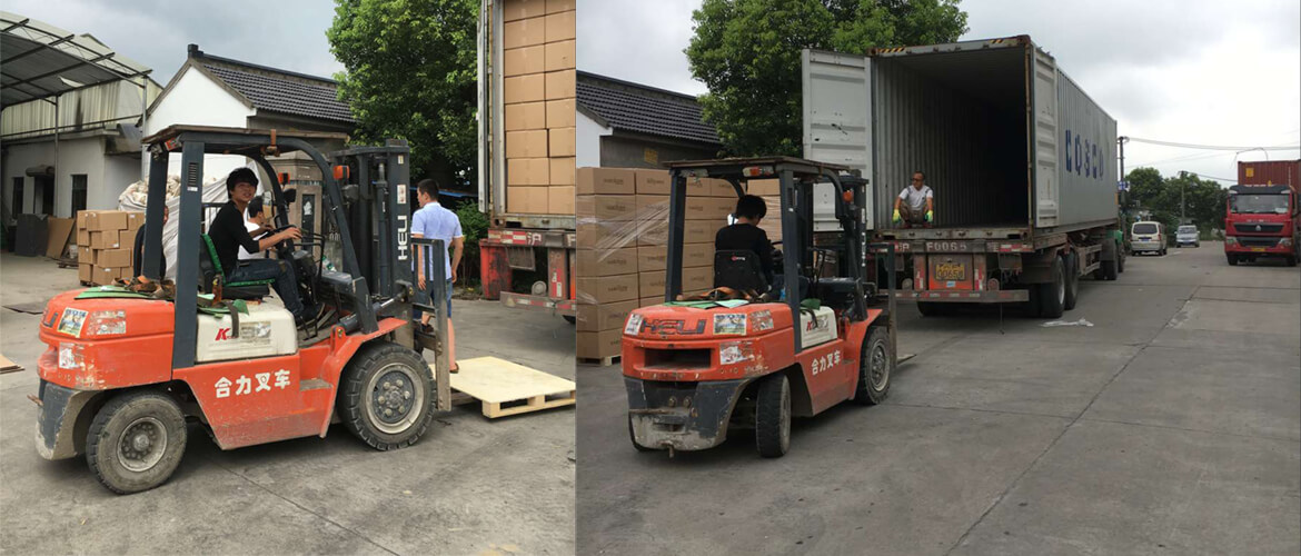 Forklift Loading Into Container For Sea Shipping