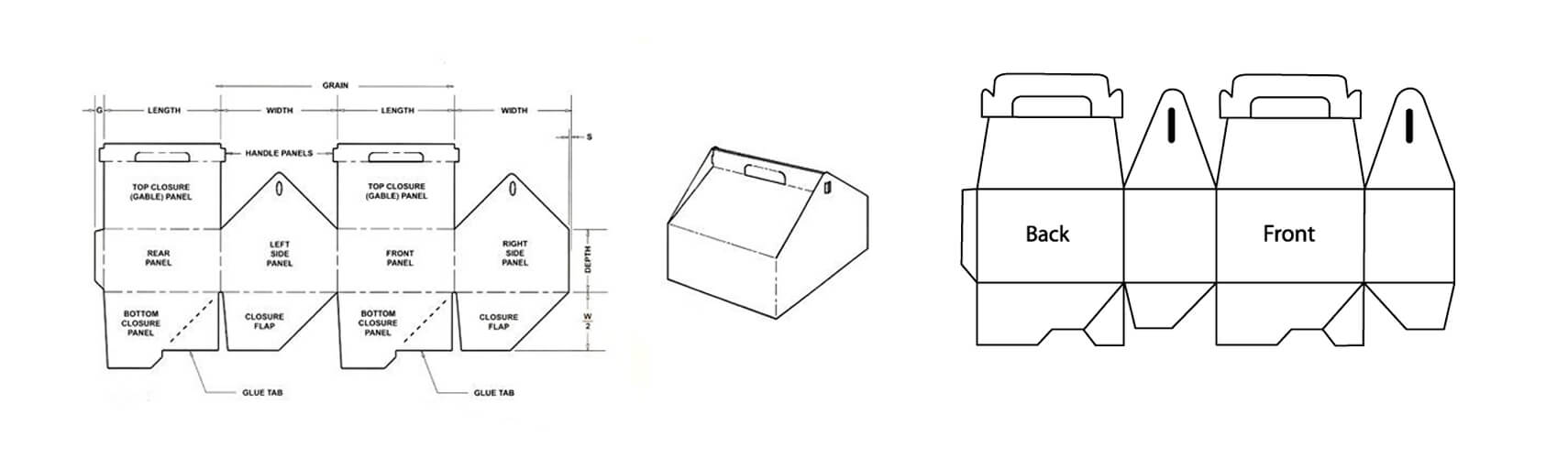 Free die-line design for gable top box