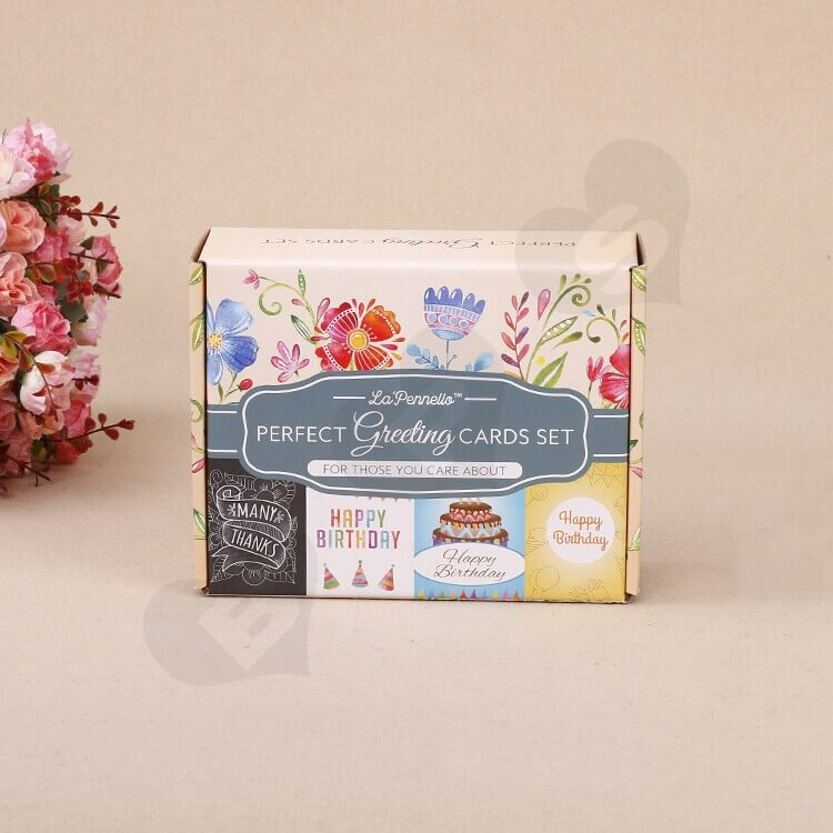 Full Color Printed Corrugated Paper Box For Greeting Cards Set side view four