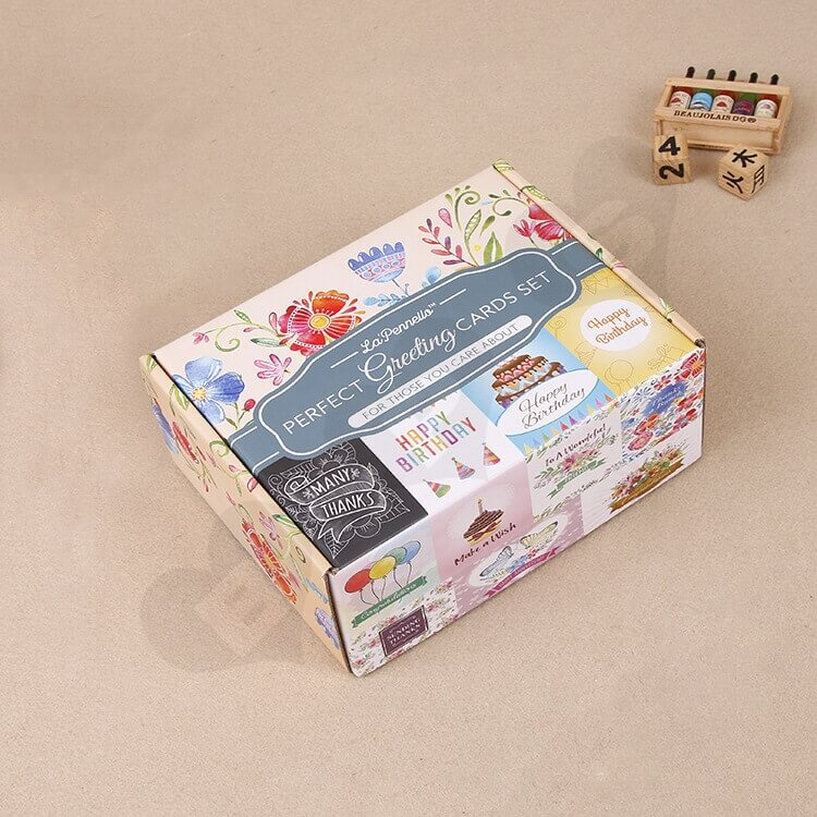 Full Color Printed Corrugated Paper Box For Greeting Cards Set side view two