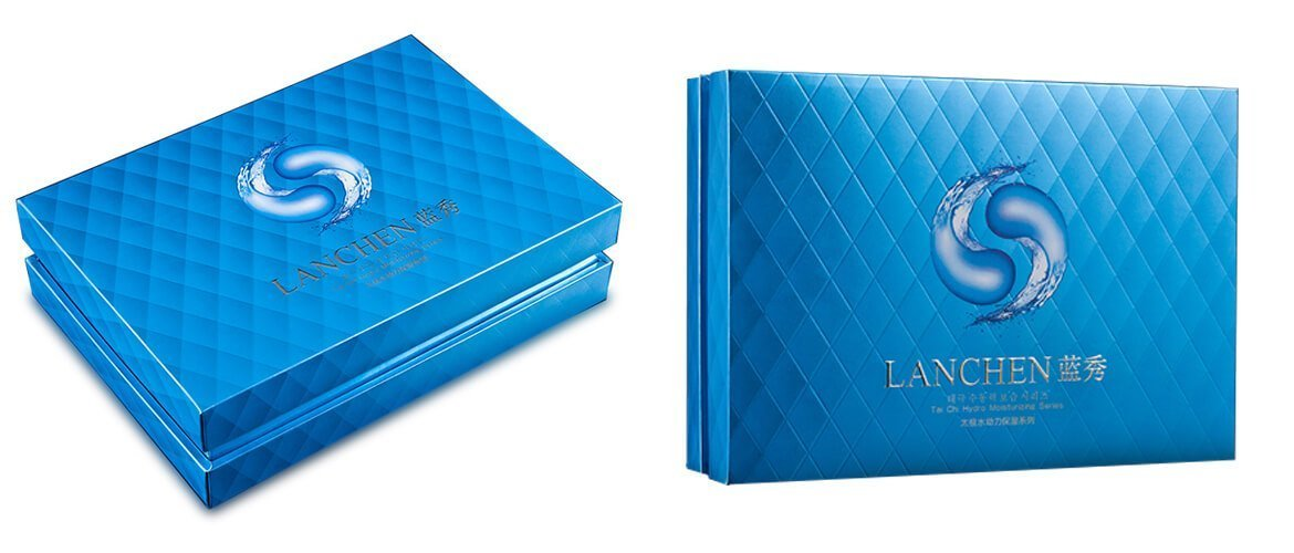 Gloss lamination finish offset printing blue cosmetic packaging box