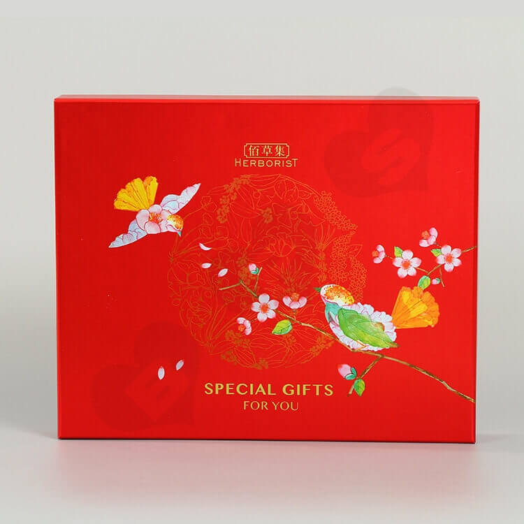 Glossy Red Cardboard Gift Box For Skin Care Product side view five
