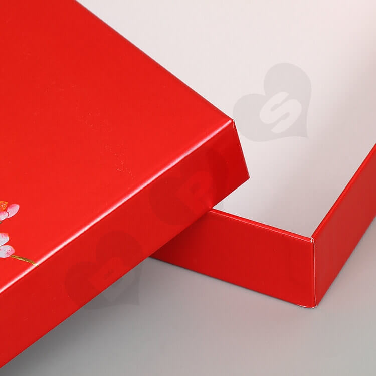 Glossy Red Cardboard Gift Box For Skin Care Product side view six