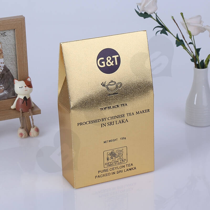 Gold Cardboard Box Packaging For Tea side view one