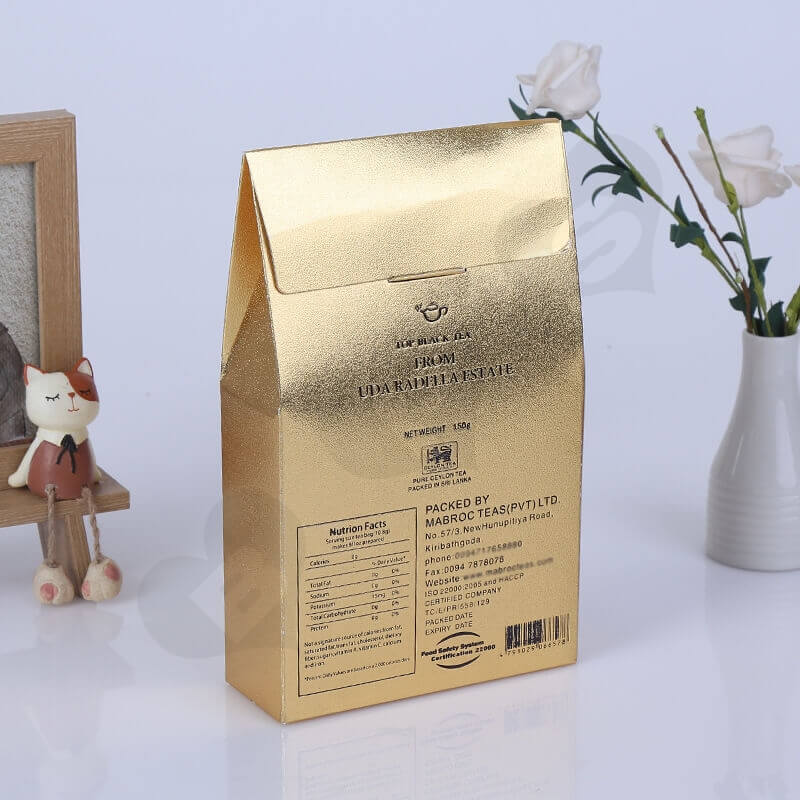 Gold Cardboard Box Packaging For Tea side view two