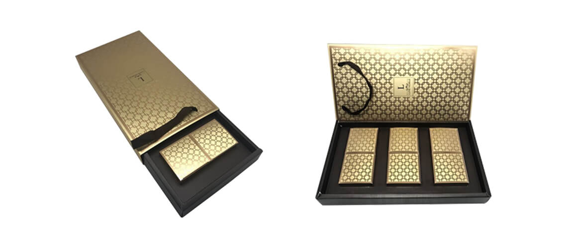 Gold color luxury rigid drawer box with paper divider inserts