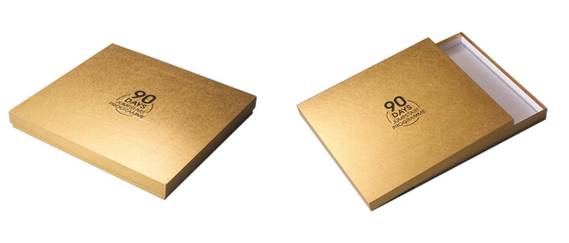 Gold specialty paperboard rigid top and bottom style packaging box