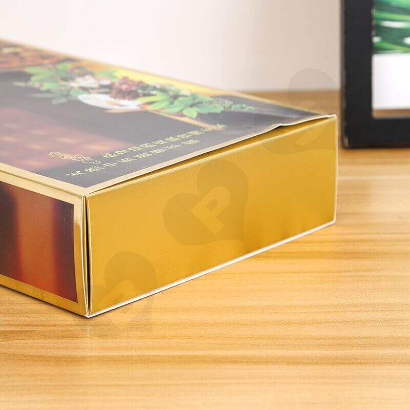 Golden Color Drawer Style Paper Box For Herbal Tea side view five