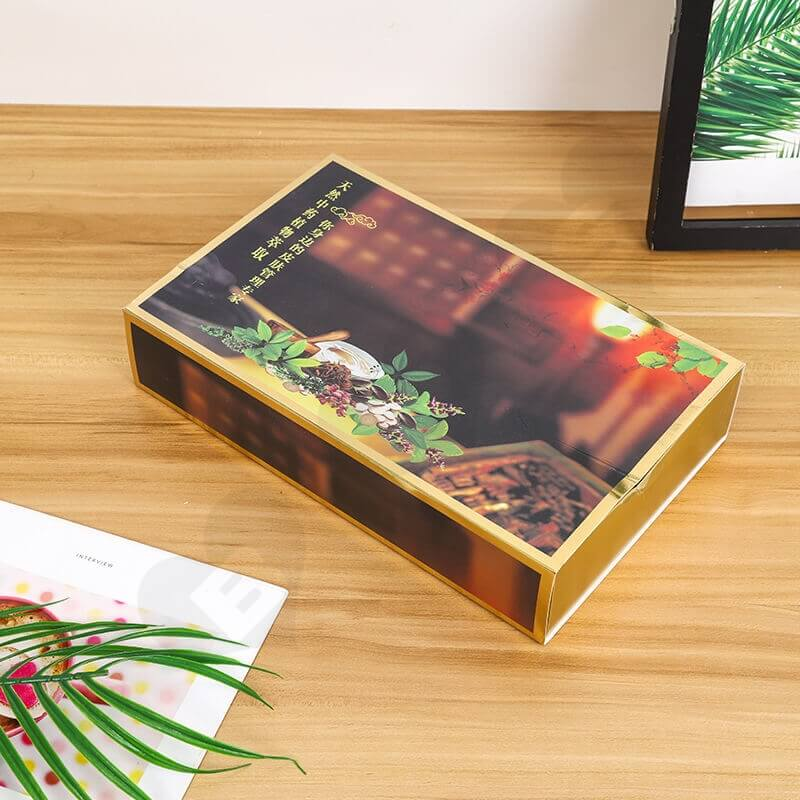 Golden Color Drawer Style Paper Box For Herbal Tea side view three