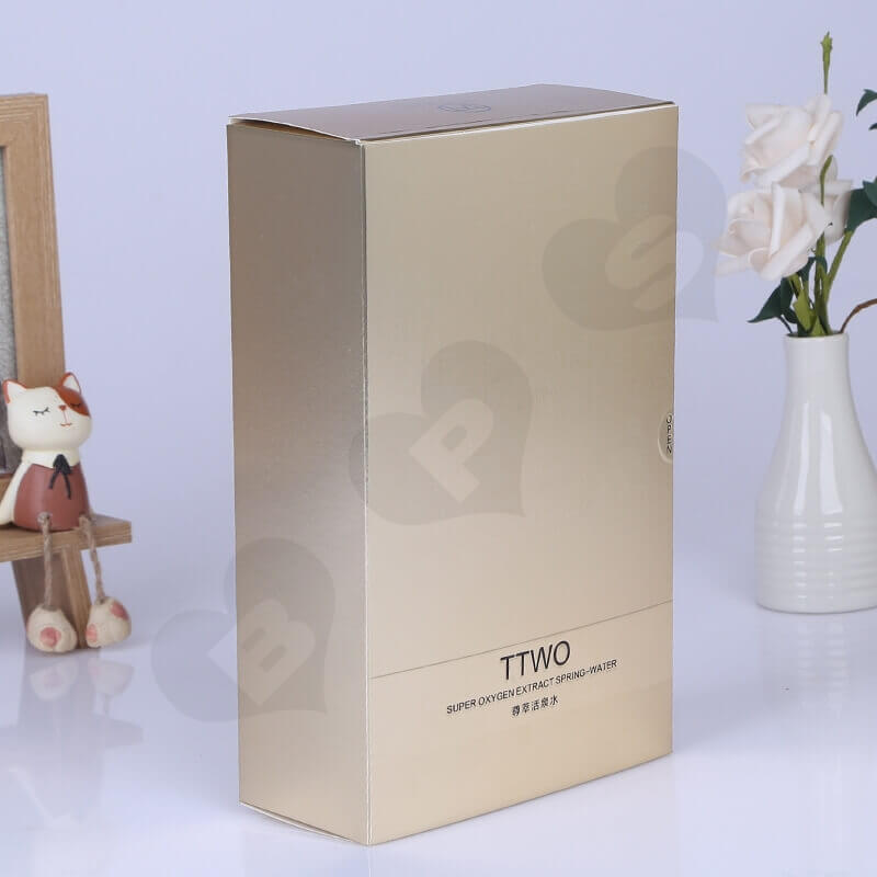 Golden Specialty Cardboard Cosmetic Packaging Box side view one