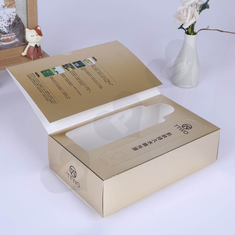 Golden Specialty Cardboard Cosmetic Packaging Box side view six