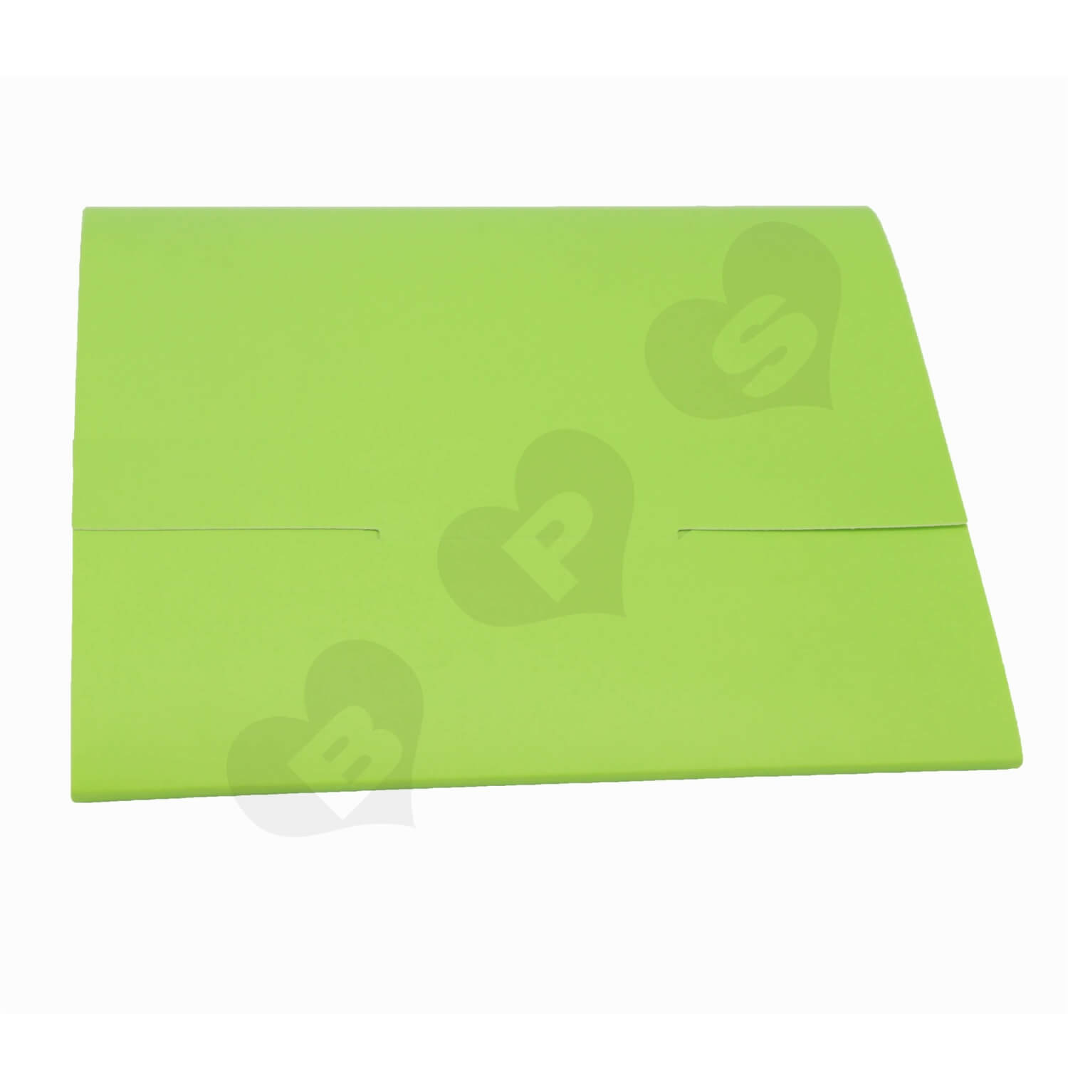 Green Paperboard Folder for Instructions side view three