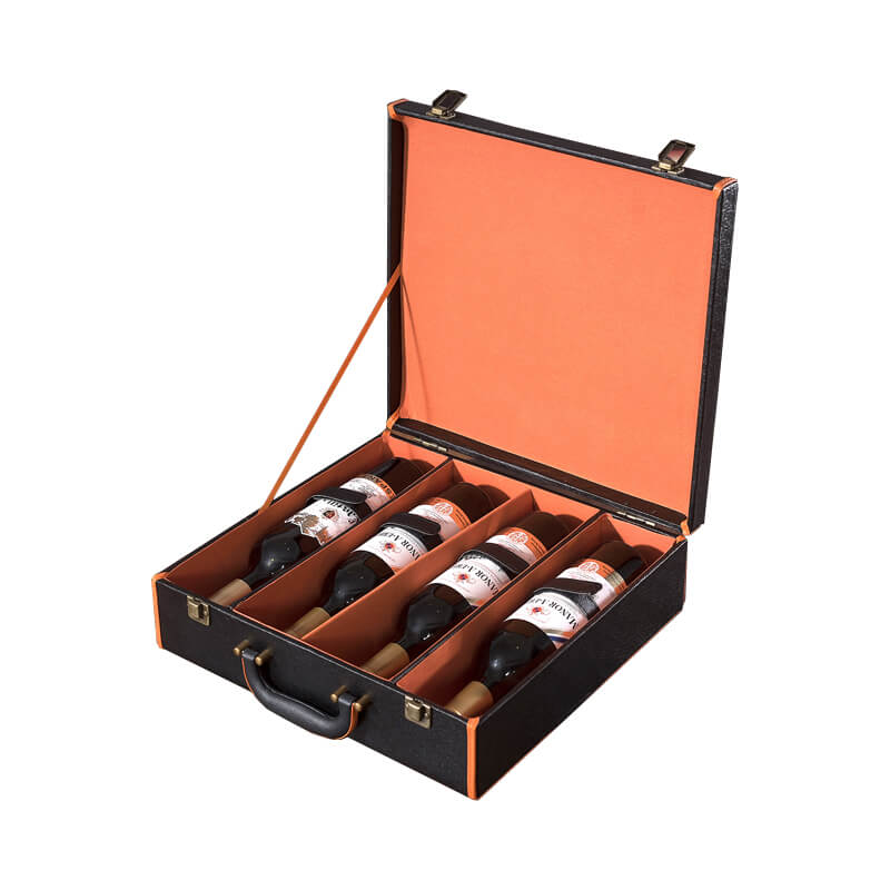 Heavy Duty Luxury Wine Box With Leather Handle