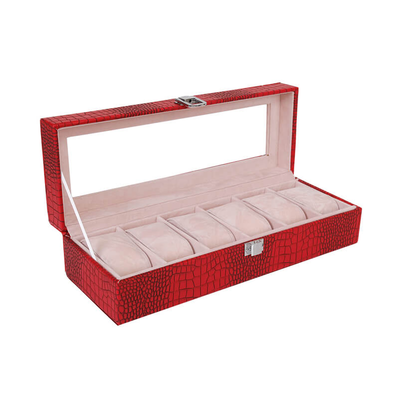 High Density Fiberboard Made Watch Box Textured Surface