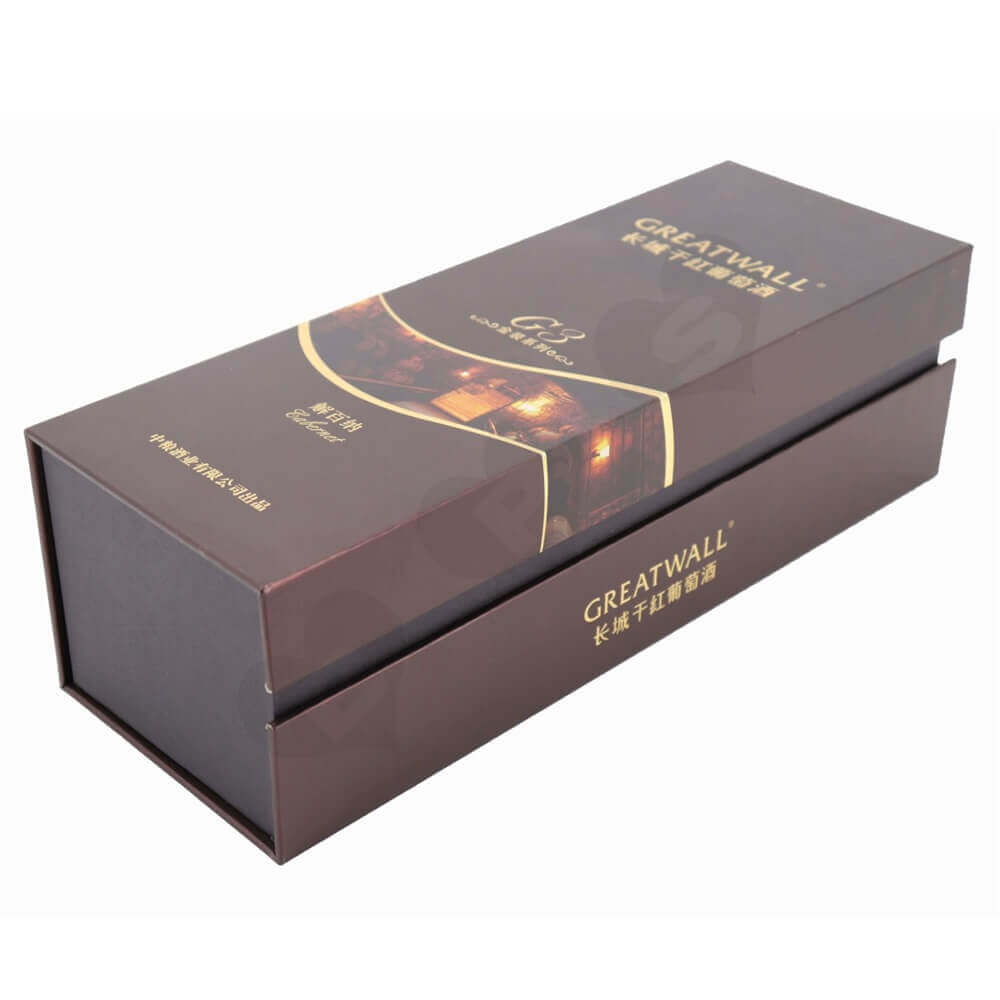 High Quality Wine Packaging Box with Fabric Insert side view one