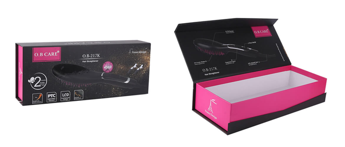 Hinged Lid Magnetic Closure Gift Box For Hair Straightener