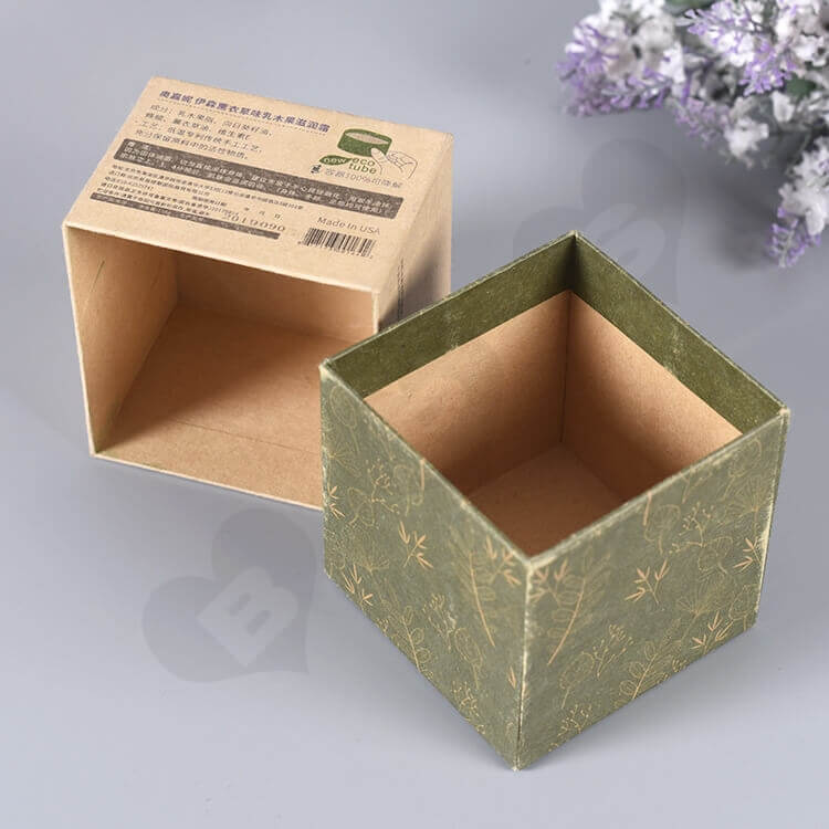 Kraft Cardboard Gift Box For Organic Shea Cream side view four