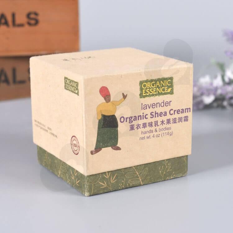 Kraft Cardboard Gift Box For Organic Shea Cream side view three