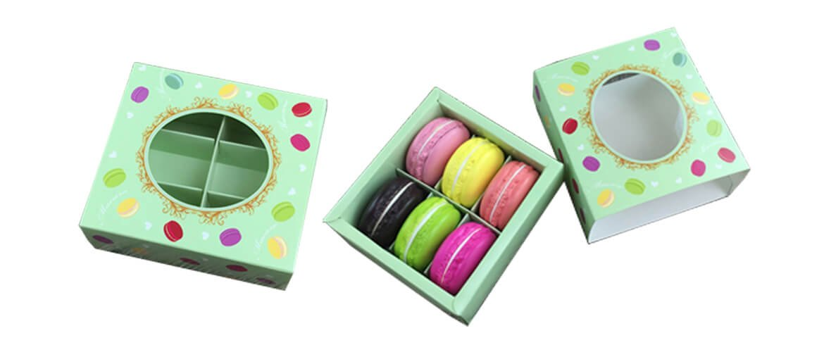 Kraft paper drawer slide box with 6 dividers for packing Macarons