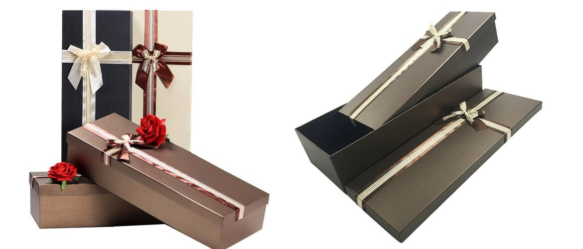 Long telescope gift box with offset printing and decoration
