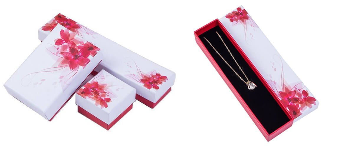 Long top and bottom gift box with foam insert for necklace packaging