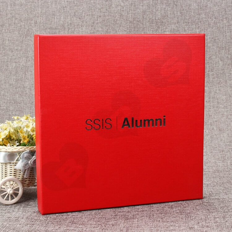 Luxury Rigid Gift Box For Souvenir Silver Foil Stamping side view five