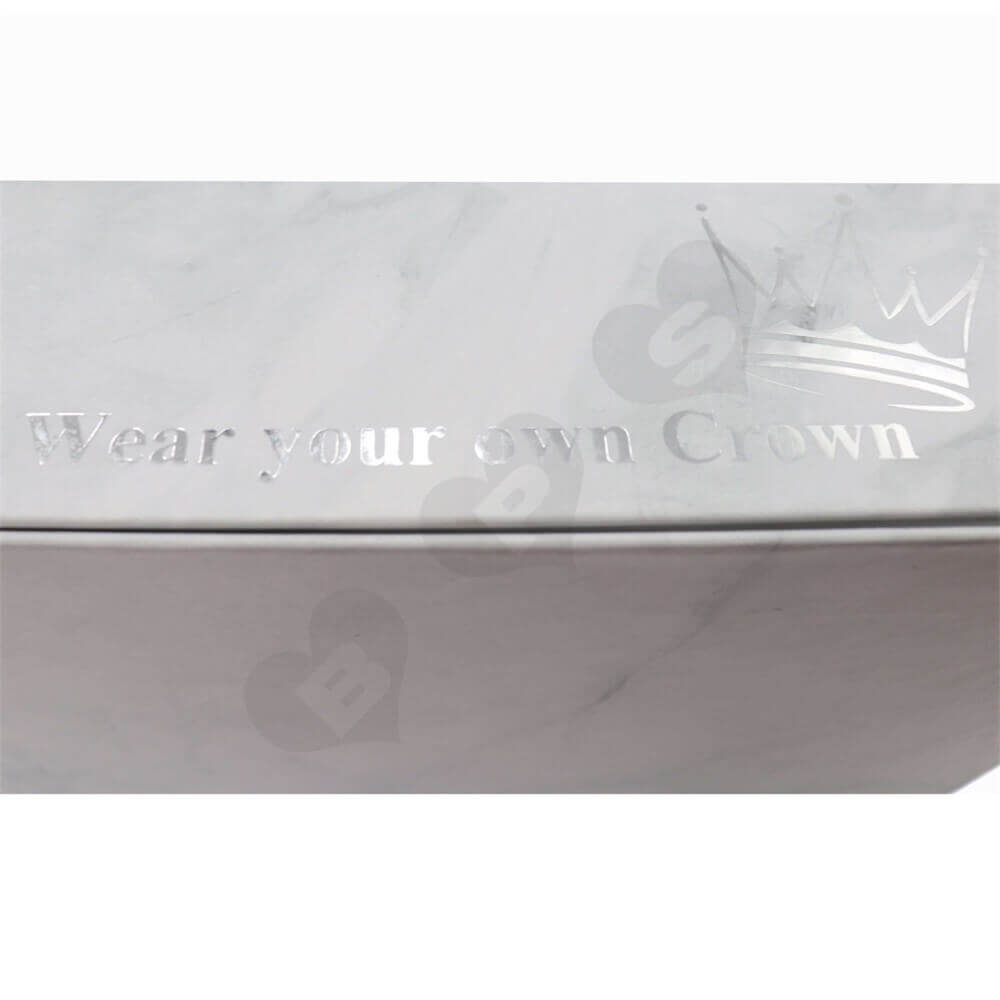 Luxury Wig Packaging Boxes with Silver Stamping side view four
